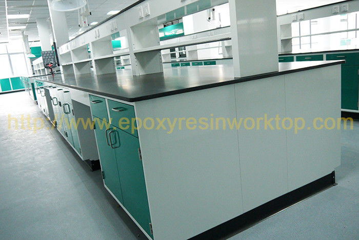 Black Glare surface chemistry lab bench with resist chemical reagents